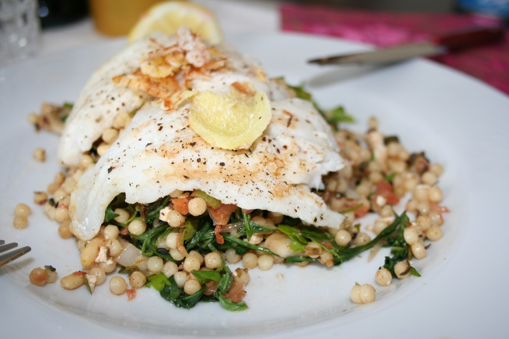 israeli couscous and white fish fillet