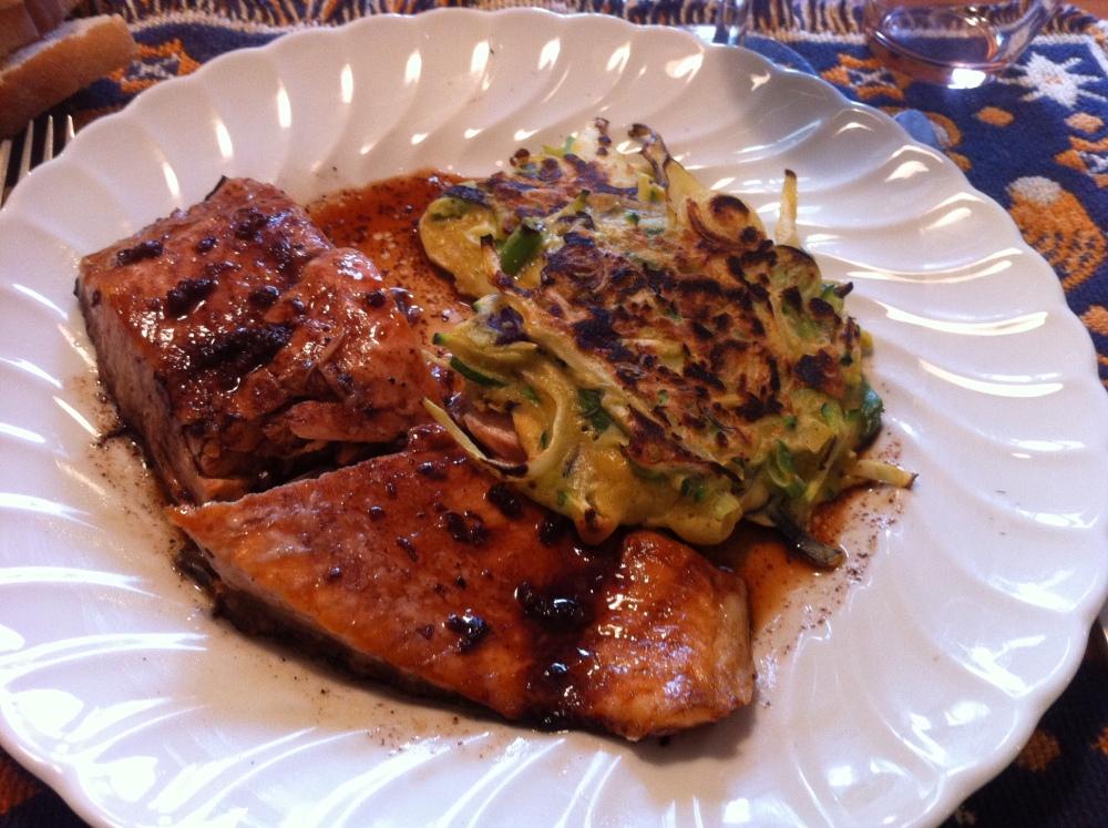 salmon and okonomiyaki
